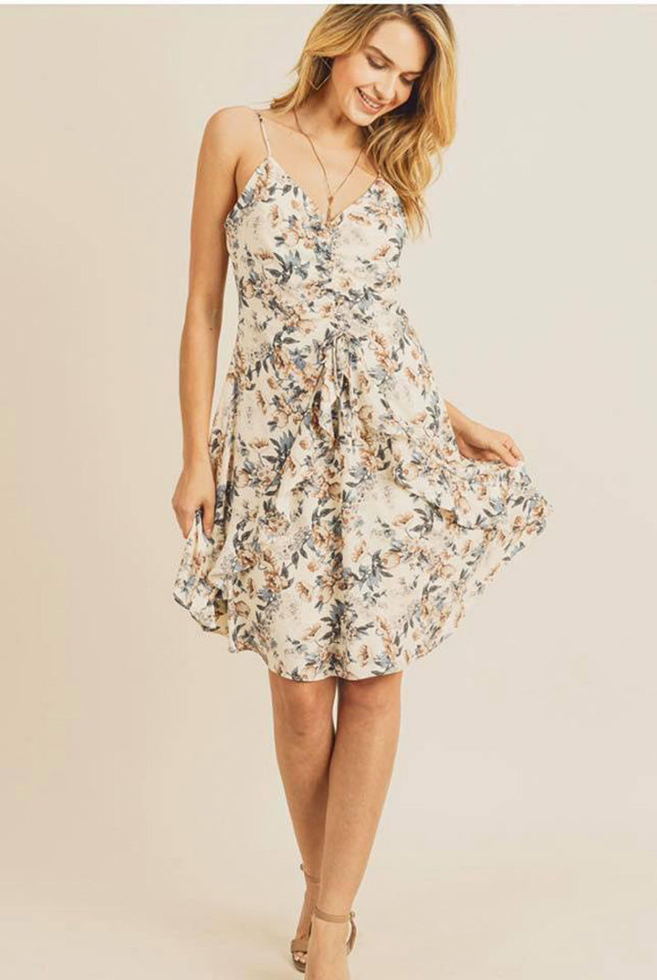 CREAM FLORAL CINCH FRONT DRESS