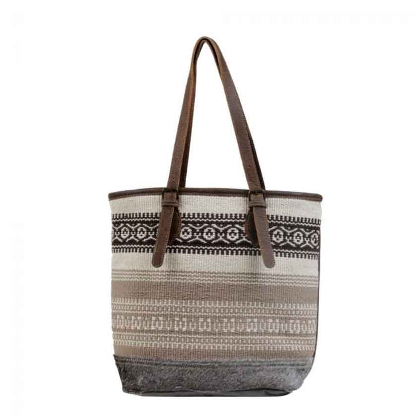 Myra Bag Beige Tribal Patterned Tote