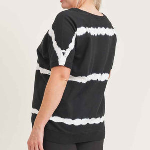 Women's black and white tie-dye top