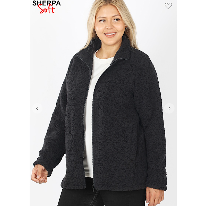 Black Full Zip Sherpa-Curvy