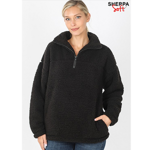 1/2 Zip Sherpa Pullover(6 Colors)