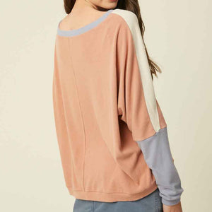 BLUSH COLOR BLOCK DOLMAN TOP