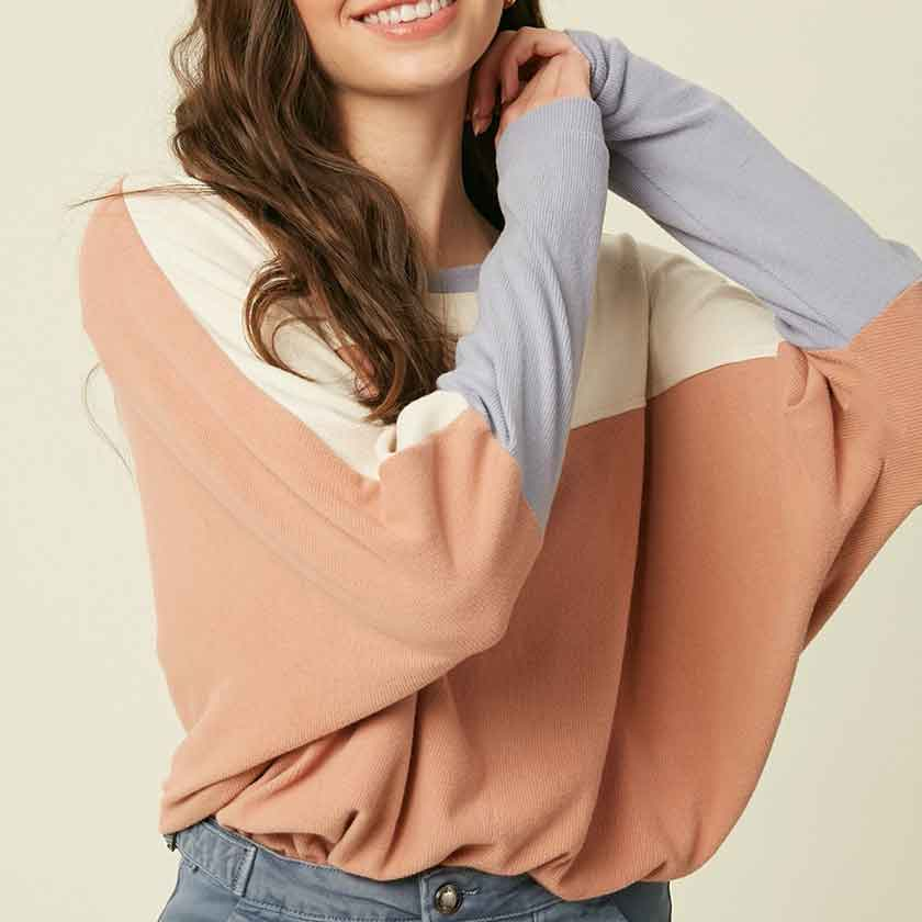 Blush color-blocked top with dolman sleeves