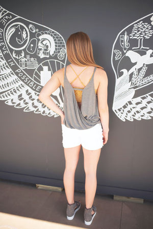 D.GRAY WRAP TANK TOP