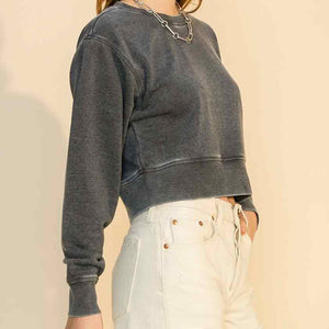 Black, burnout cropped crewneck sweatshirt