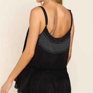 Black Button Up Tank top