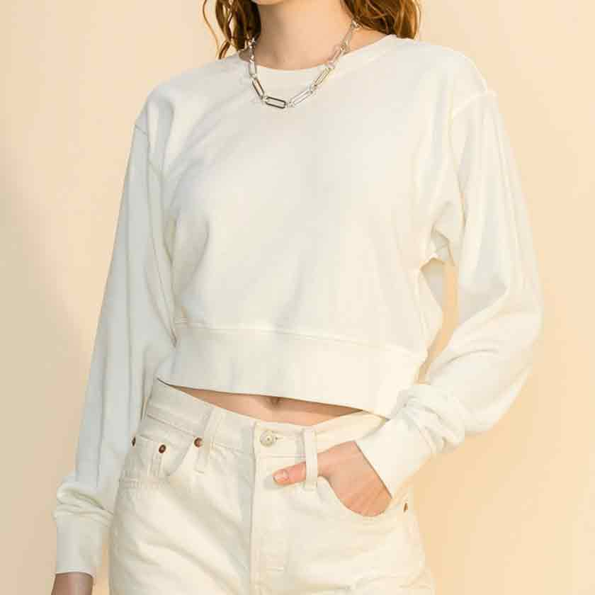Bone cropped crewneck sweatshirt
