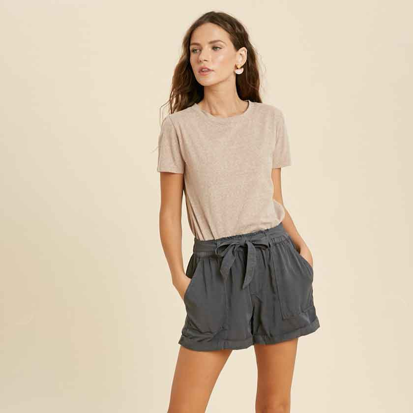 CHARCOAL TENCEL SHORTS