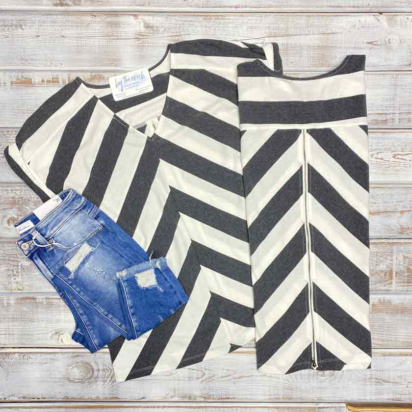 Women's charcoal and white striped v-neck top
