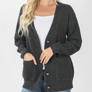 WAFFLE KNIT CARDI-CURVY(2 COLORS)