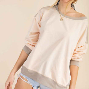Cream side seam crewneck top