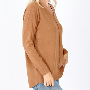 V NECK H/L FRONT SEAM SWEATER(6 COLORS)