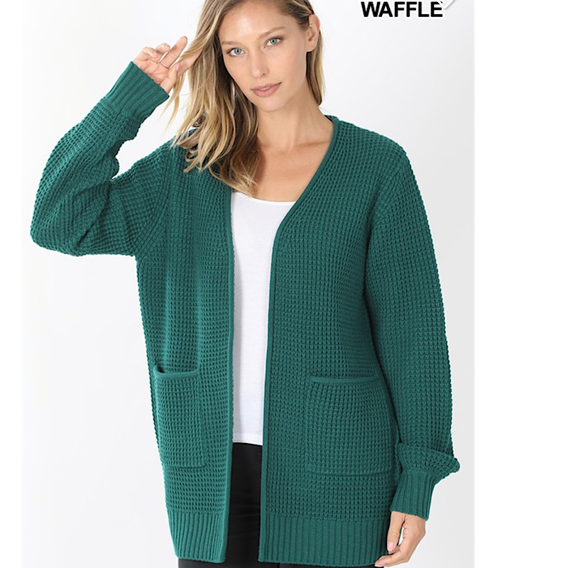 OPEN WAFFLE CARDI(2 COLORS)