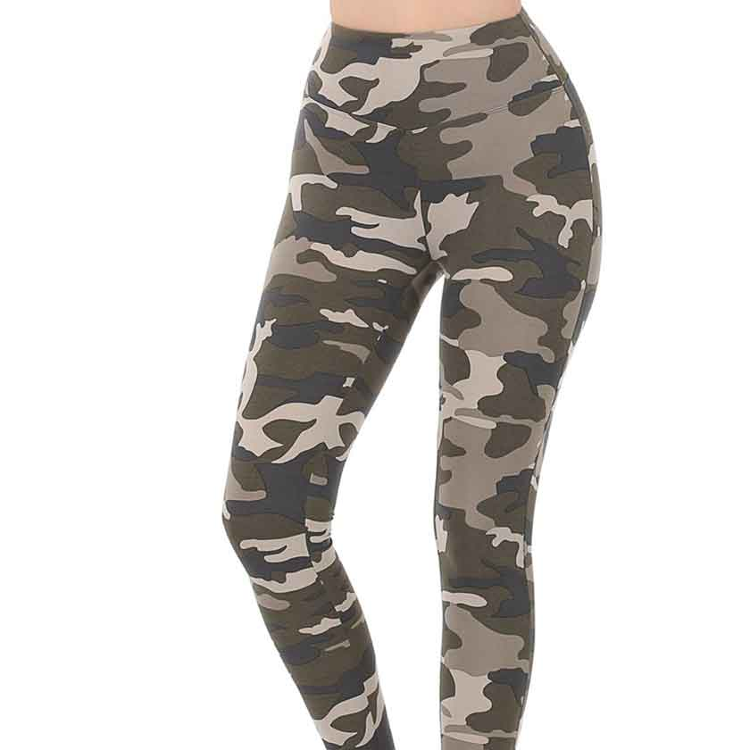 Camo leggings with wide waistband