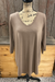 Basic Mocha 3/4 Sleeve V-neck