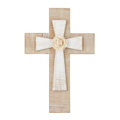 "Layered Wall Cross with Flower 12""  - CB"