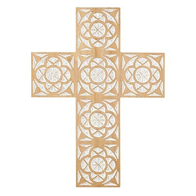 "Wood Carved Wall Cross 16"" - CB"
