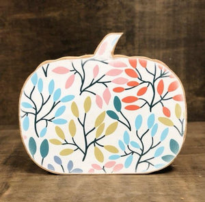 Leaf Decorated Wood Pumpkin