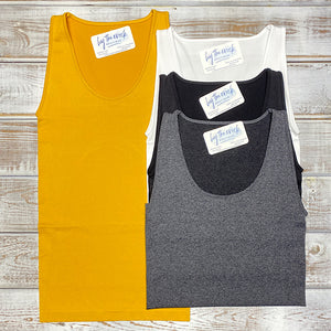 SCOOP NECK SEAMLESS TANK(4 COLORS)