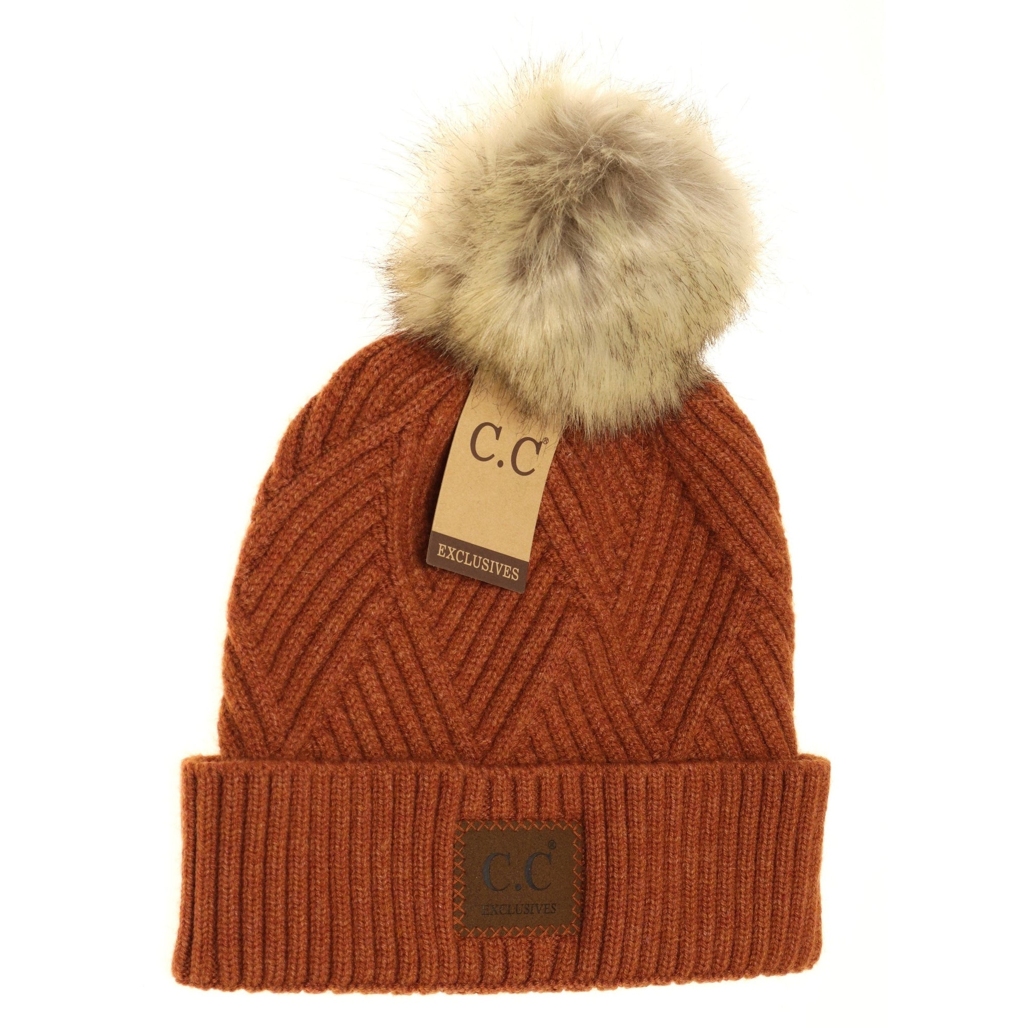CC Heathered Pom Beanie-Rust Mix