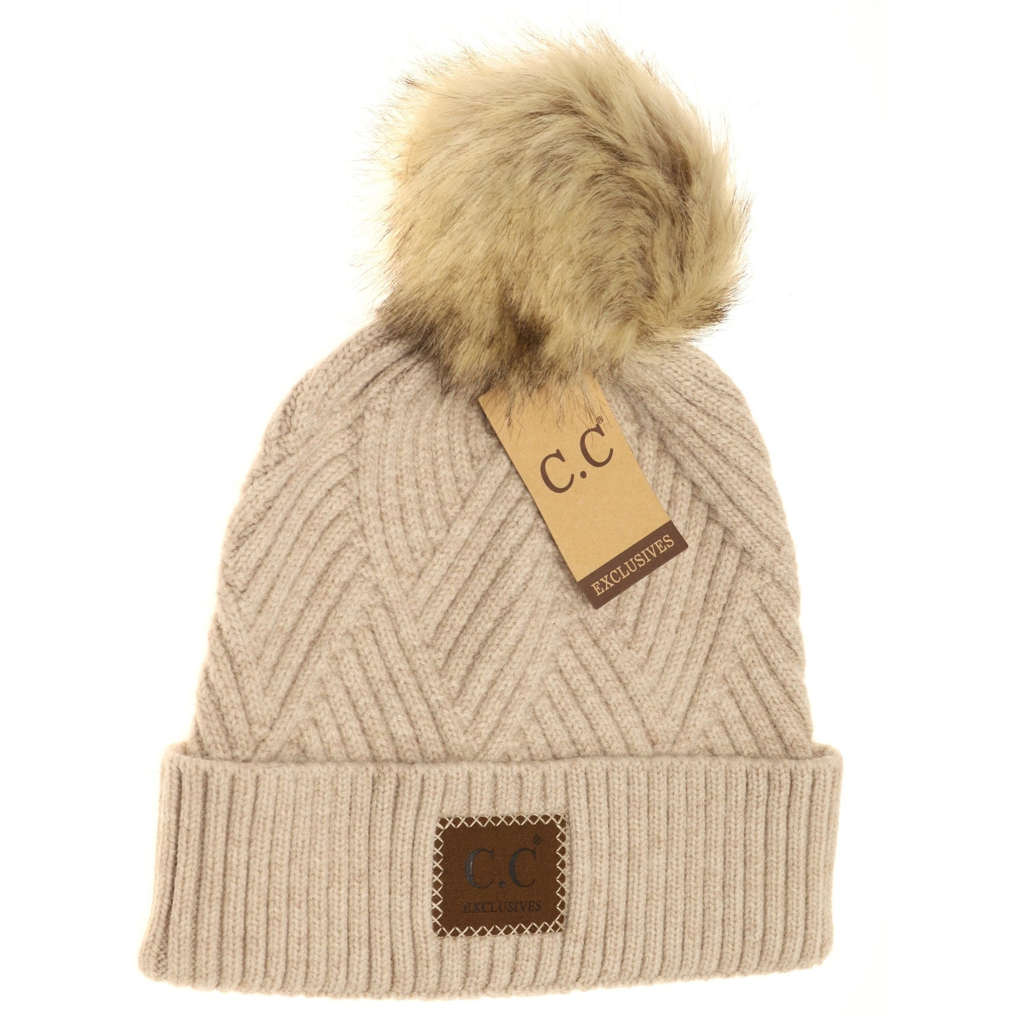 CC Heathered Pom Beanie-Beige Mix