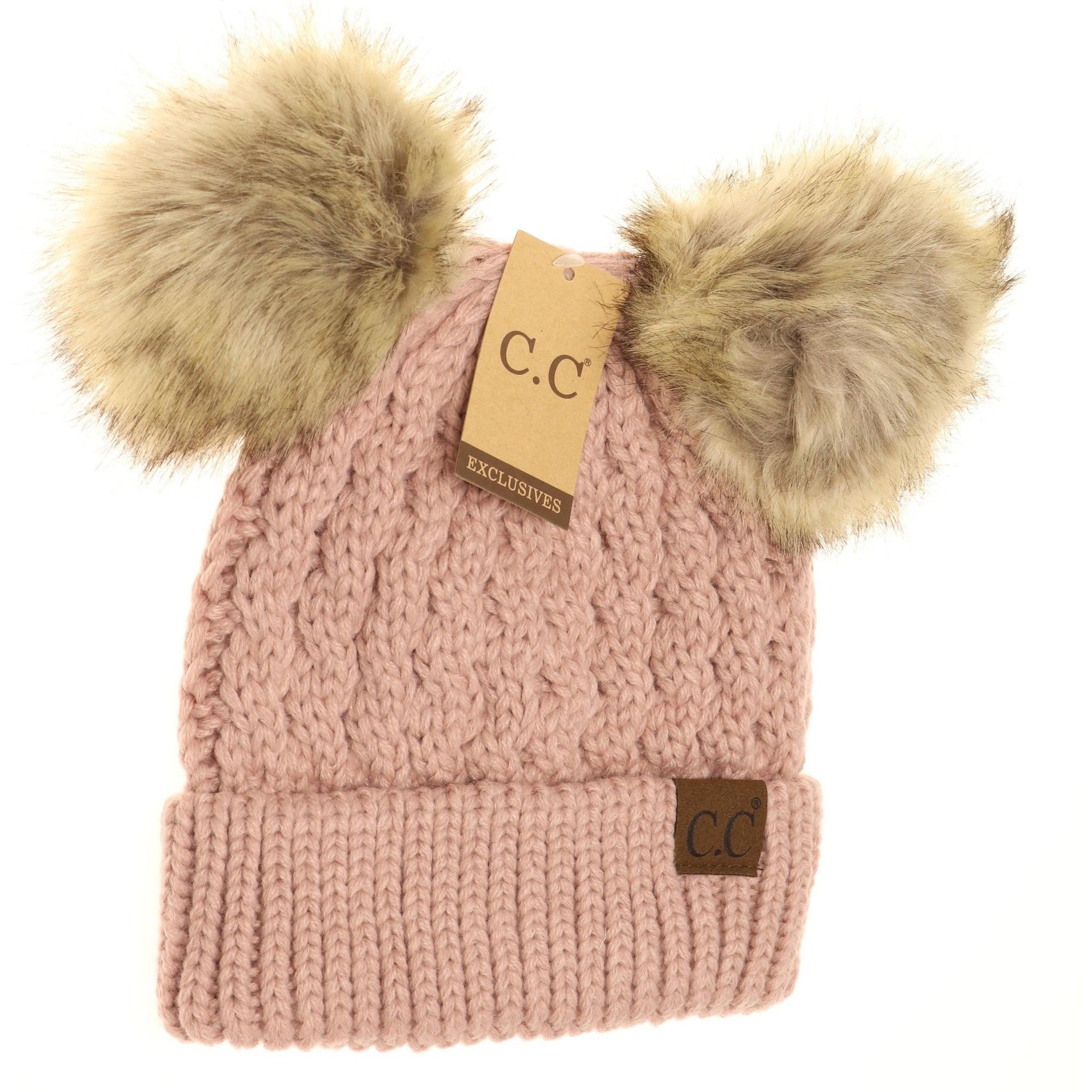 CC KIDS Cable Knit Double Pom-Rose