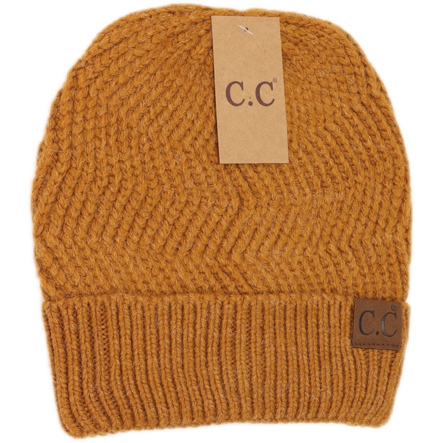 CC Chevron Knit Cuff Beanie-Golden Camel