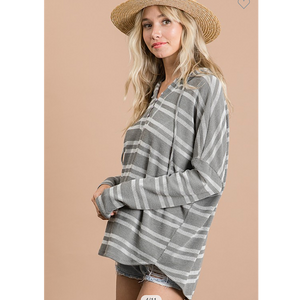 Gray Stripe Ribbed Top