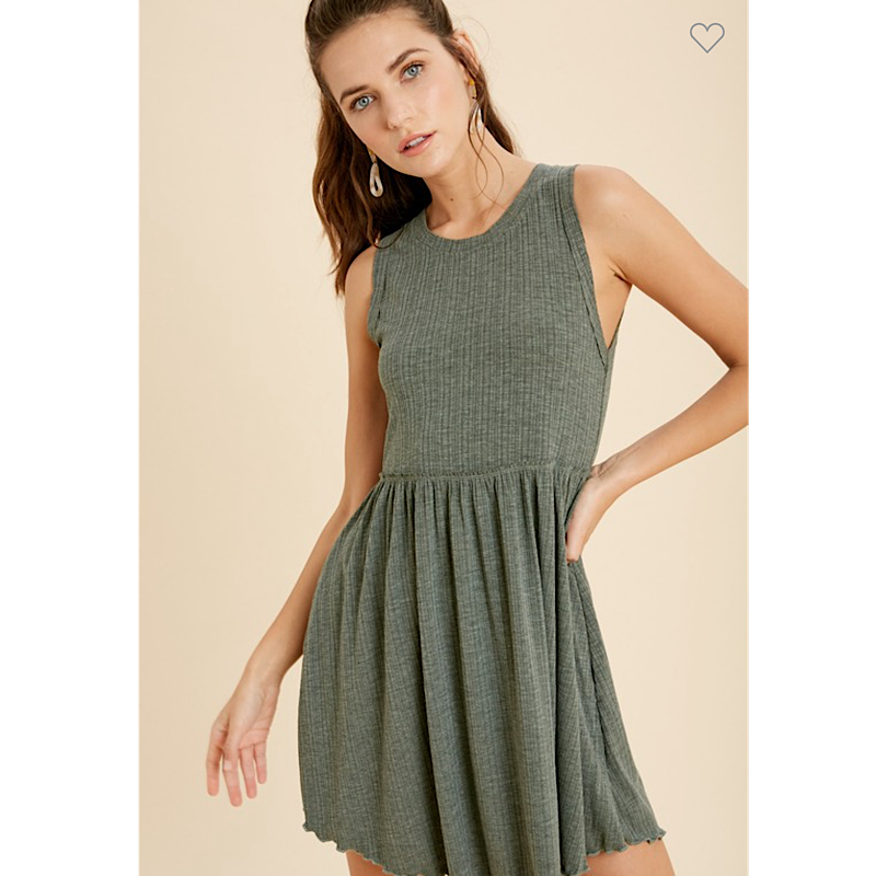 Hunter Green Ribbed Knit Dress