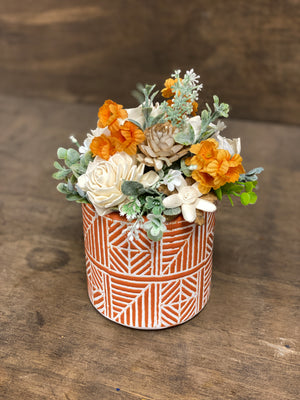 Wood Potted Flowers
