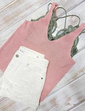 MAUVE V NECK KNIT TANK