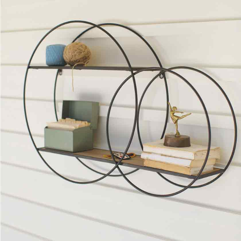 METAL DOUBLE CIRCLE WALL UNIT WITH WOOD SHELVES - KALALOU