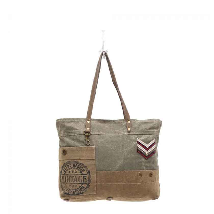 Myra Bag Military Badge Canvas Tote