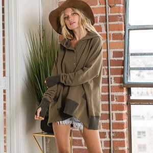 OLIVE BOXY HOODIE