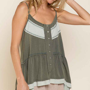 Olive Button Up Tank Top