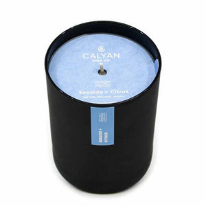 SEASIDE AND CITRUS MATTE BLACK TUMBLER CANDLE - CALYAN WAX