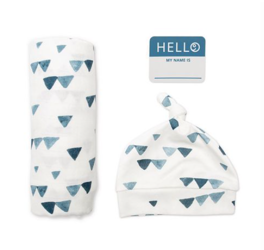 Lulujo Baby Hello World Newborn Hat And Swaddle Blanket Set Navy Triangles Navy