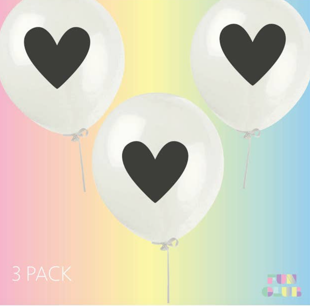 FUN CLUB - Heart Balloons 3 PK