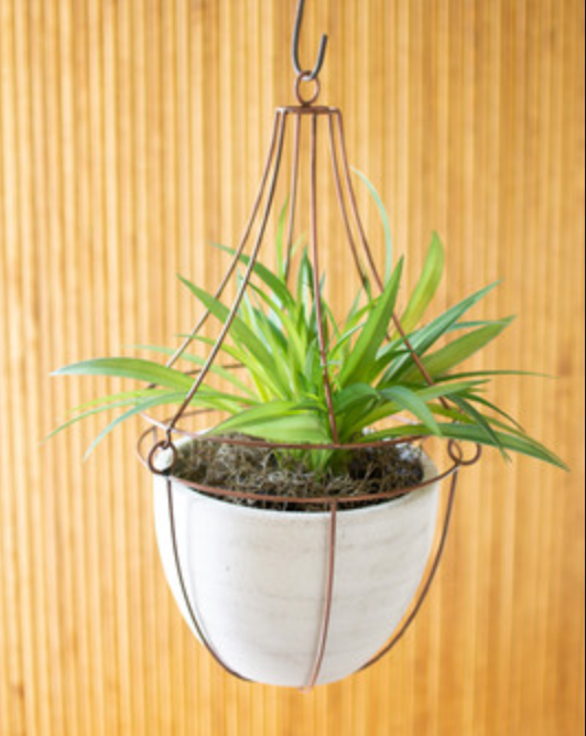 Kalalou - HANGING WHITE CLAY POT WITH COPPER WIRE TRELLIS TOP