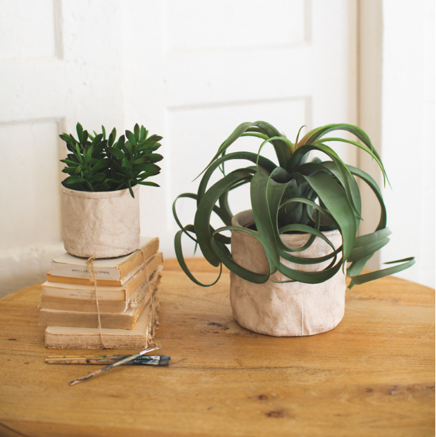 SET OF TWO CEMENT SACK PLANTERS KALALOU