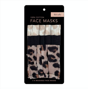 Cotton Mask 3pc Set - Leopard - Kitsch