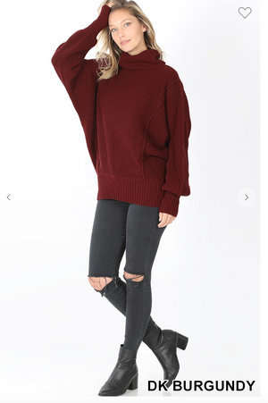 DK BURGUNDY TURTLE NECK SWEATER