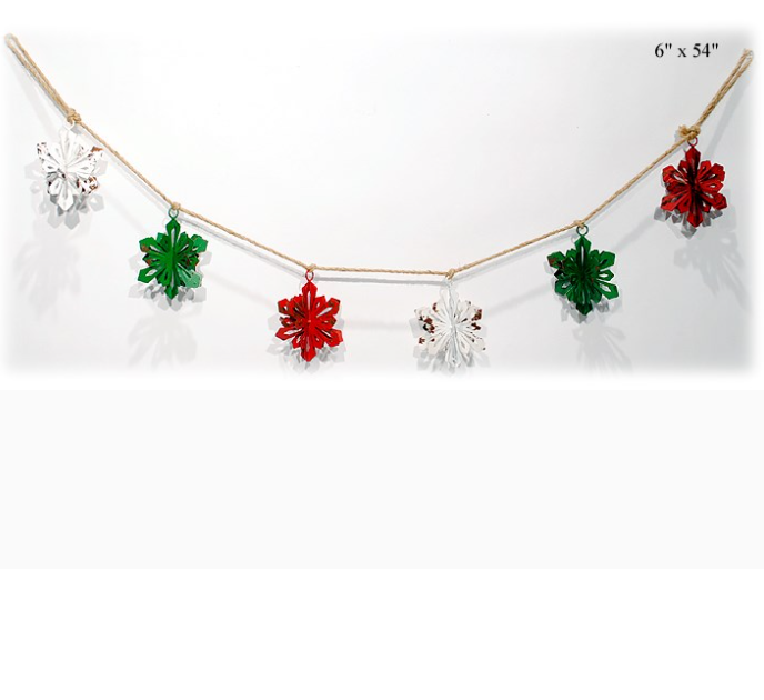 "3-D Snowflake Garland - 54"" - Wills"