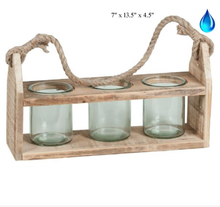 "Reclaimed Wood Triple Lantern - 13.5"" - Wills"