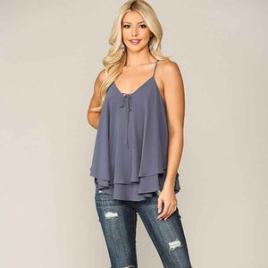 Slate Blue Double Layer Tank Top