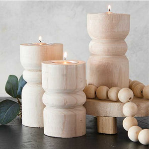Small natural wood candle holder