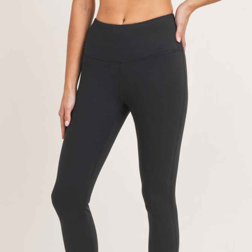 Thermal lined black leggings for women