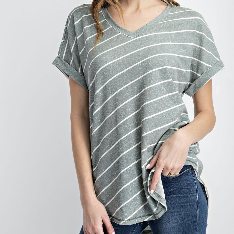 Woodbine and Ivory Stripe V Neck
