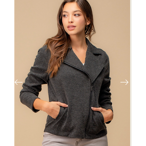 Charcoal Knit Moto Jacket