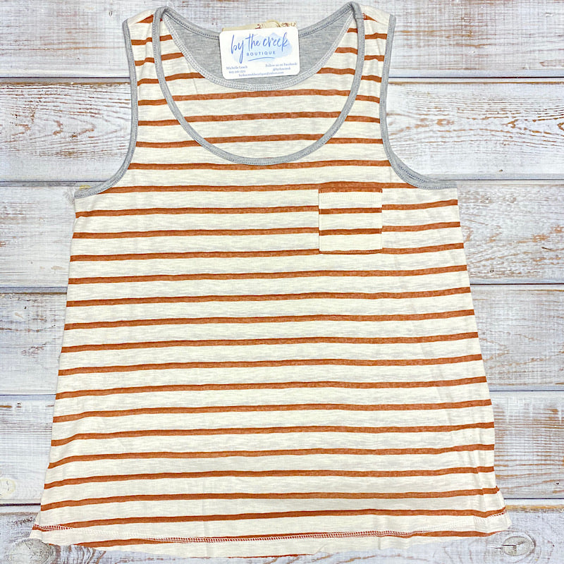 Terra Cotta/Grey Stripe Tank